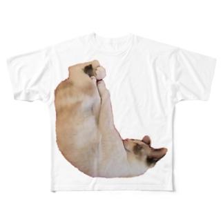 しろみちゃんの寝相が変 Full graphic T-shirts