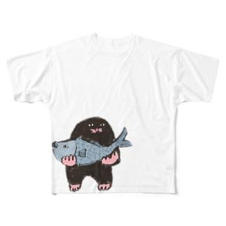 もぐらのおぐらさん おさかな Full graphic T-shirts