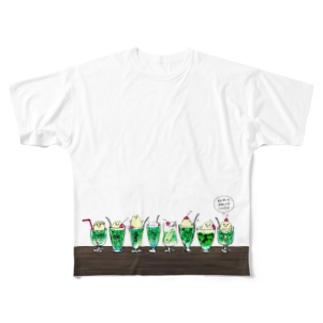 クリームソーダ先輩16人前 Full graphic T-shirts
