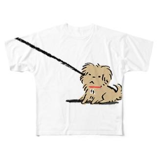 こぐま犬てんすけ拒否ポーズ Full graphic T-shirts