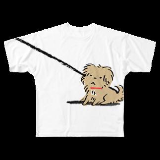 こぐま犬てんすけグッズショップのこぐま犬てんすけ拒否ポーズ Full graphic T-shirts