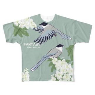 オナガと紫陽花 Full graphic T-shirts