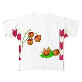 矢がすりフレーム 枝つきホオズキ Full graphic T-shirts