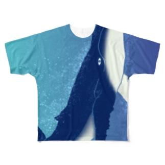 泳ぐクジラ Full graphic T-shirts