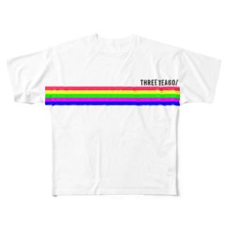 THREE TEA GO. 5LINE Full graphic T-shirts