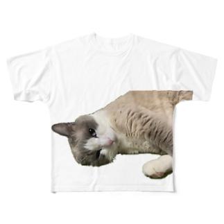 片耳ネコ☆Riku Full graphic T-shirts