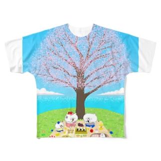 花見をする猫家族 Full graphic T-shirts