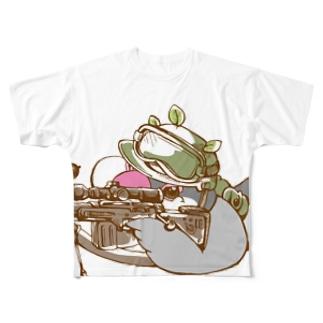 常にガチンコな桜ブンチョ隊員 Full graphic T-shirts