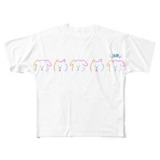 カラフルイヌっちネコっち Full graphic T-shirts