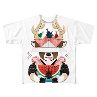 カブトムシと西瓜(リメイク) Full graphic T-shirts