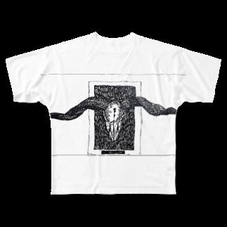 黒山羊の山羊の頭蓋骨のイラスト Full graphic T-shirts