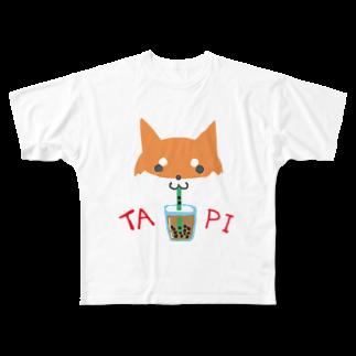 浅木愁太@LINEスタンプ販売中のタピ柴さん(赤柴) Full graphic T-shirts
