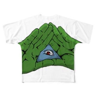 パッチリオメメ Full graphic T-shirts
