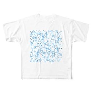 白いハニワ【うじゃうじゃ(青)】 Full graphic T-shirts