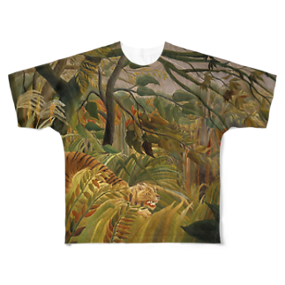 Art Baseの熱帯嵐のなかのトラ / アンリ・ルソー(Tiger in a Tropical Storm(Surprised!)1891) Full graphic T-shirts
