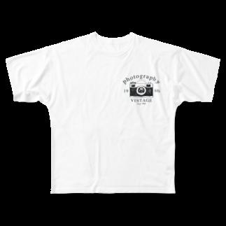 IZANAGIのレトロなカメラあ Full graphic T-shirts