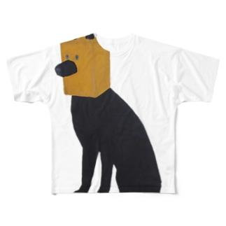紙袋をかぶった犬 Full graphic T-shirts
