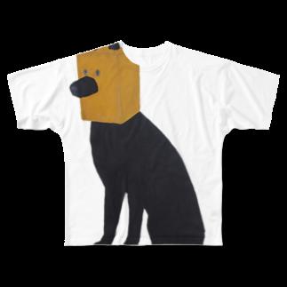irosocagoodsの紙袋をかぶった犬 Full graphic T-shirts