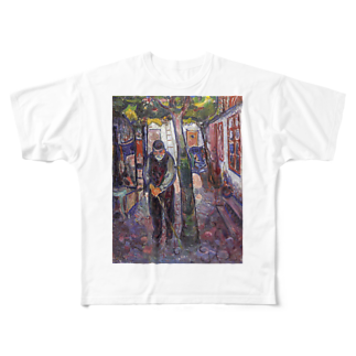 Art Baseのムンク / Old Man in Warnemunde / Edvard Munch / 1907 Full graphic T-shirts
