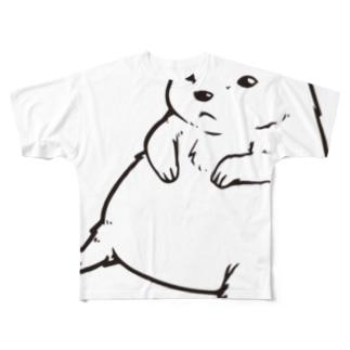 ずんぐりプレーリー(ビッグモノクロ) Full graphic T-shirts