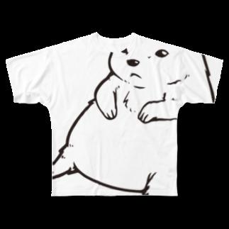 水道橋ですらのずんぐりプレーリー(ビッグモノクロ) Full graphic T-shirts