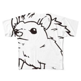 おすましはりねずみ(ビッグモノクロ) Full graphic T-shirts