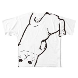 さかさ猫(ビッグモノクロ) Full graphic T-shirts