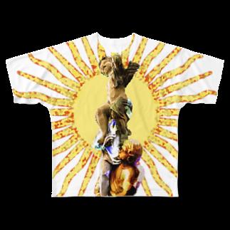 同心円の天使像 Full graphic T-shirts