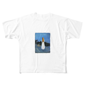 Art Baseのムンク / 1896 / Young woman on the shore / Edvard Munch Full graphic T-shirts