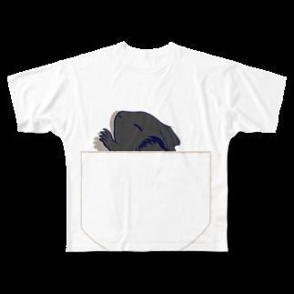 Lichtmuhleのポケットでネンネするモルモット03 Full graphic T-shirts