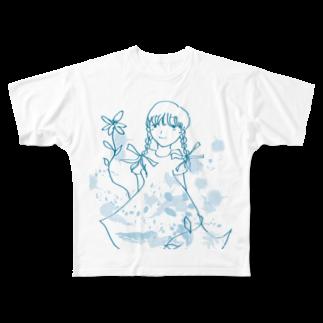 花紅の三つ編みガール ver.2 Full graphic T-shirts