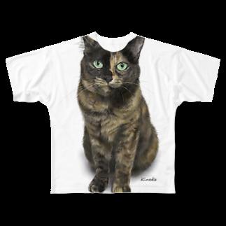 kinako-japanのサビ猫のキューちゃん 背景白 Full graphic T-shirts
