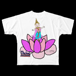 uwotomoの【THAILAND】蓮と踊り子 Full graphic T-shirts