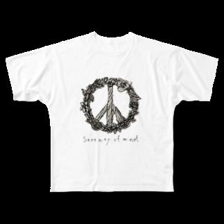 YUHKIのSerenity of mind Full graphic T-shirts