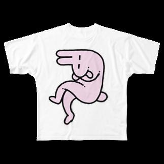 tanaka_____のねないとうさぎ Full graphic T-shirts