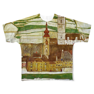 Art Baseのエゴン・シーレ / 1913 /Stein on the Danube, Seen from the South / Egon Schiele Full graphic T-shirts