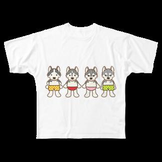 HUS×HUSのおパンツハスキー4 Full graphic T-shirts