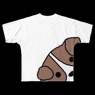 mimmy1616の覗き見わんこ Full graphic T-shirts