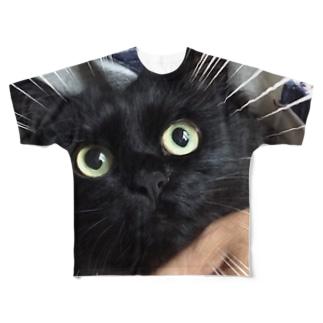 びっくりねこフェイス Full graphic T-shirts