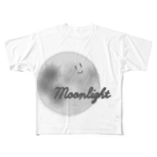 顔つき月【モノクロ】 Full graphic T-shirts