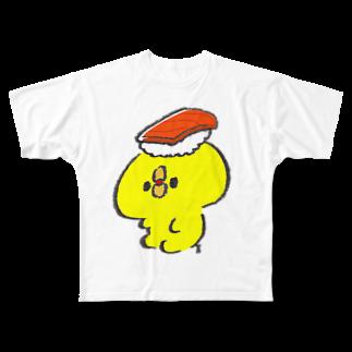 ぴよたそ商店の寿司を頭の上に乗せたぴよたそ Full graphic T-shirts