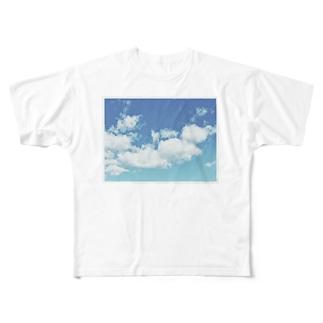 青と白 Full graphic T-shirts
