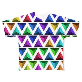 3D Triangles(White) フルグラフィックTシャツ