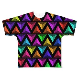 3D Triangles(Black) フルグラフィックTシャツ
