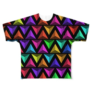 3D Triangles(Black) Full graphic T-shirts