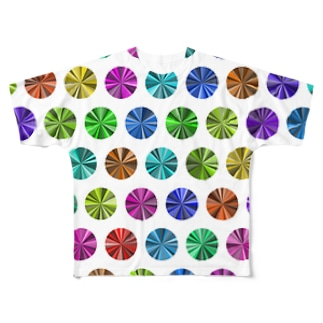 Colorful dots(White) Full graphic T-shirts