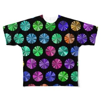 Colorful dots(Black) フルグラフィックTシャツ