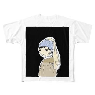 真珠の耳飾りの飴頬張ってる少女 Full graphic T-shirts