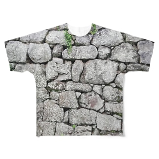石垣 打込接 Stone wall in Uchikomi-hagi style  Full graphic T-shirts