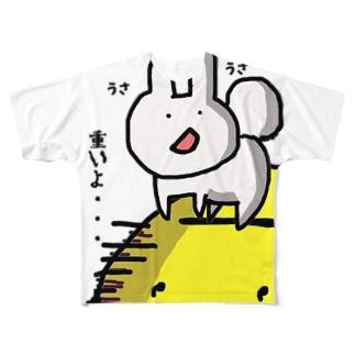 お月見うさちゃん Full graphic T-shirts